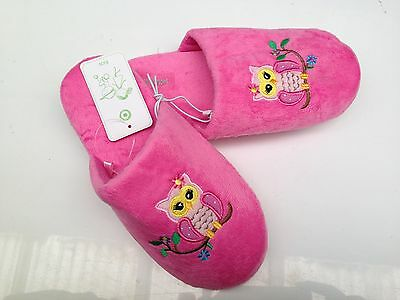 BNWT Older Girls Sz 4 Target Brand Super Cute Pink Owls Scuff Style Slippers
