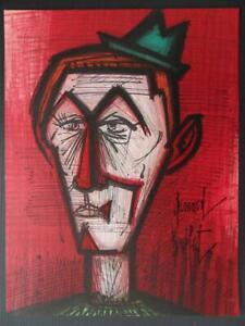 BUFFET-Bernard-le-clown-rouge-LITHOGRAPHIE-signee-et-referencee-MOURLOT