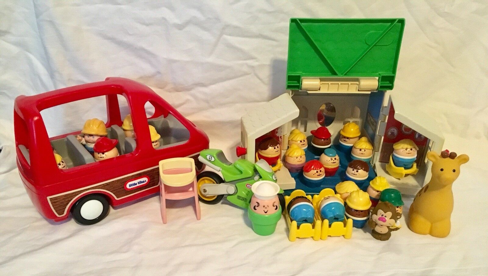 Little Tikes Doll House Toddle Figures, Furniture, House, Van, Motorcycle 40 Pcs