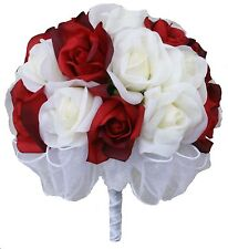 Red and Ivory Silk Rose Hand Tie (24 Roses) - Silk Bridal Wedding Bouquet