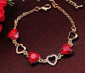18K Gold Plated Heart Love Charm Chain Link Bracelet Crystal for Women UK Gift