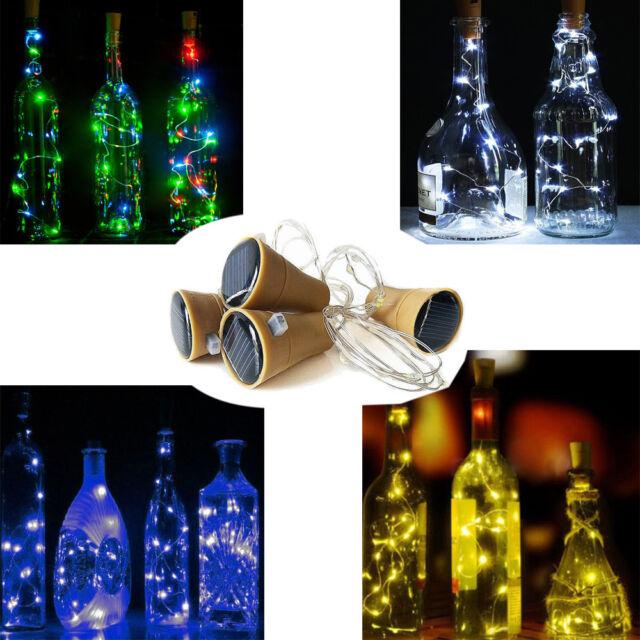 8/10/15/20LED Cork Shape String Fairy Night Light Wine Bottle Lamp Solar/Battery