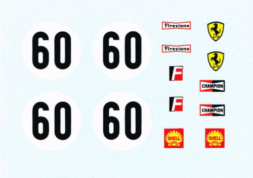 Ferrari 312P Le Mans ref 1432 decals for Dinky