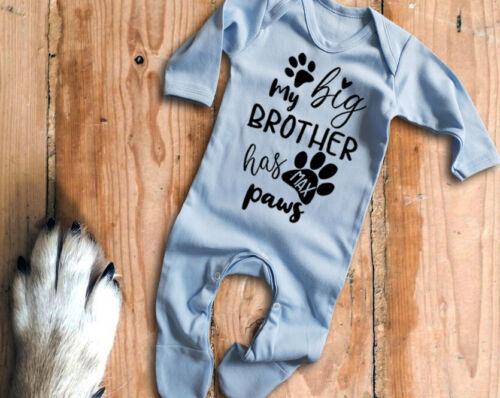 Personnalisé Nom Mon grand frère a pattes bleu à manches longues Baby Grow rompersuit