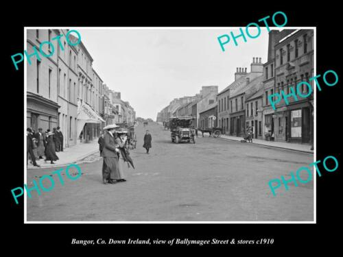 OLD 6 X 4 HISTORIC PHOTO OF BANGOR DOWN IRELAND, BALLYMAGEE ST & STORES c1910