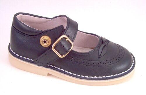 Girls/' Navy Blue Leather Euro Dress Mary Jane Shoes DE OSU A-1244 Size 5-8