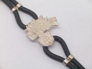 design senza tempo 64082 0b39a Dettagli su Braccialetto con FIAMMA ARMA CARABINIERI in Argento 925 e  caucciù - bracciale -
