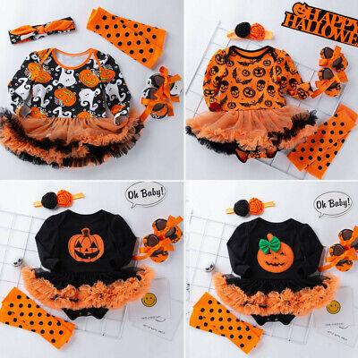 4PCS 0-24M Toddler Baby Girl Halloween Romper Dress Hairband Shoes Stockings Set