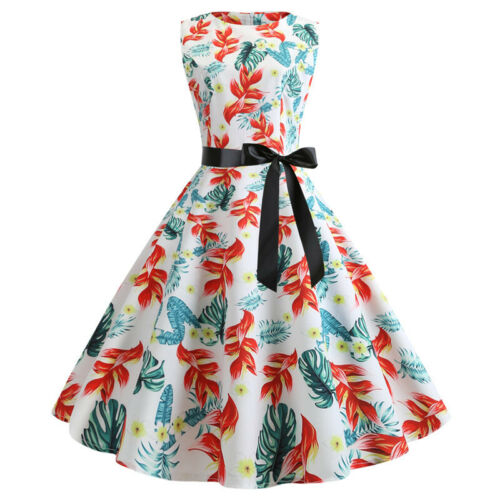 Womens 50s Hepburn Vintage Dresses Floral Evening Party Prom Ball Gown Dress UK