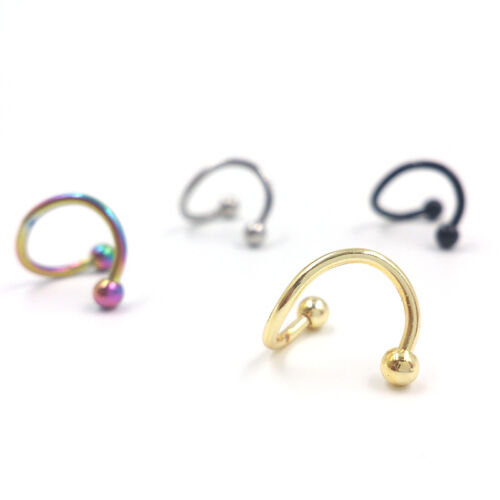 8xStainless steel S-type nose nail color earrings titanium steel lip nail
