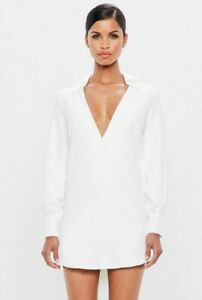 Missguided-V-front-Collar-Tailored-Loose-Fit-Dress