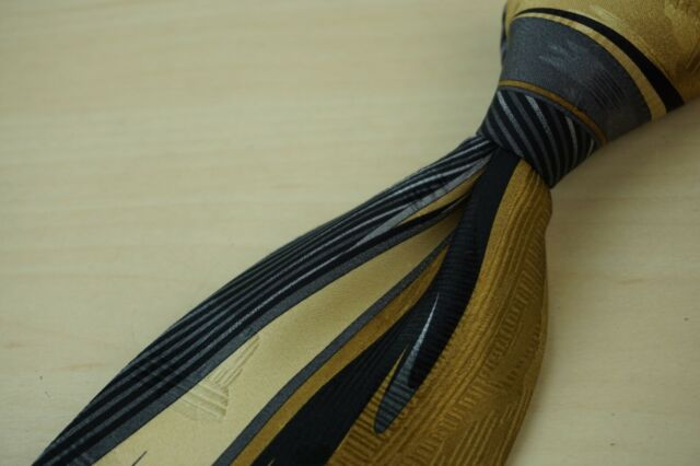 Vitaliano Pancaldi Gold Steel Hollywood Regency Paisley Silk Sheer Tie