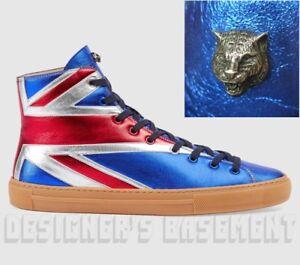 3e6be7499ed0 GUCCI 8.5G metallic UNION JACK Angry Cat MAJOR high top Sneakers NIB ...