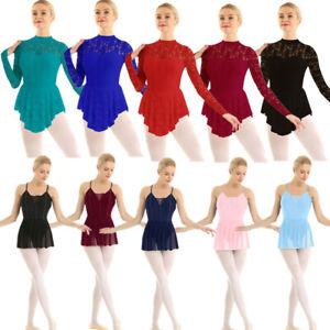 Women-Ballet-Lace-Dance-Dress-Leotard-Outfit-Costume-Gymnastic-Dancewear-Skating