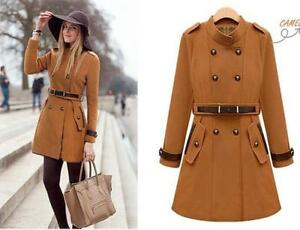 British-Womens-Wool-Blend-Double-breasted-Military-OL-Outwear-Long-Jackets-Coats
