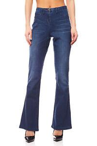 Details zu Used Look Jeans Hose Damen Kurzgröße Denim Damenhose Blau vivance collection