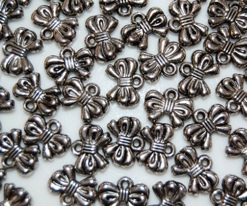 50 Bow Silver Metal Plated Loose Beads Jewelry Making Craft