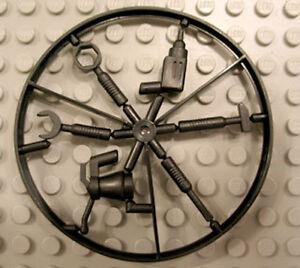 set of 6 Gray tools on sprue Minifig LEGO Utensil Tool Wheel