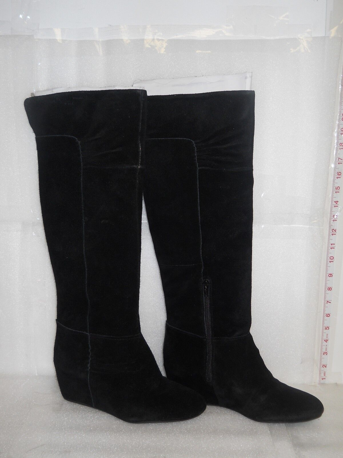 Nine West New Womens Amelie Black Suede Leather Wedge Boots 6 M Shoes NWB