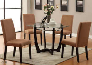 Image Is Loading 5PC MODERN WINSTED ROUND GLASS DINING TABLE SET
