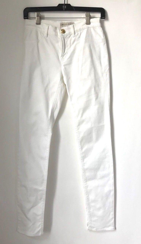 Emilio Pucci Size 6 White Cotton Jeans