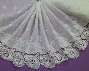 LOT-5-Yards-Embroidery-Flowers-Polyester-Cotton-Off-White-Lace-Trim-Wide-24-CM
