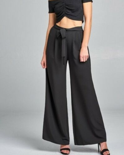 Fashion Women Waist Bow Tie Striped Wide Leg Long Pants Casual Loose Trousers