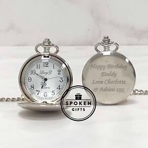 Image Is Loading Personalised Engraved Fob Watch Gifts Ideas For Retirement