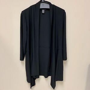 FRANK LYMAN Design Black Stretch Open Front Jacket Top Size 16