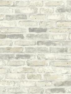 Wallpaper-Faux-SMOOTH-Brick-Look-in-Gray-White-and-Light-Beige