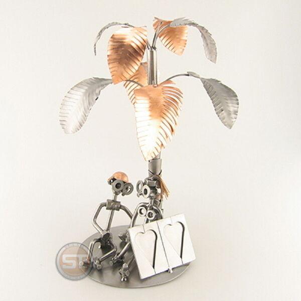 Schraubenmännchen Palme Paar mit Bilderrahmen verliebt Liebespaar 0065
