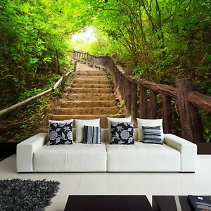 Wallpaper-Fleece-Photo-Natural-Green-Landscape-in-Free-Stairs-to-Forest