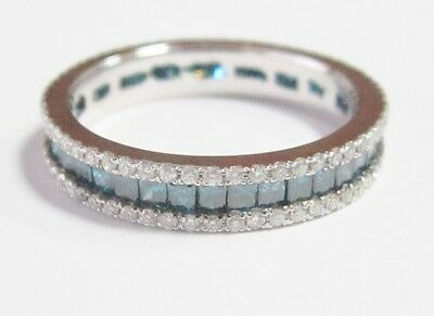 1.75TCW Natural Round Cut Blue Diamond Eternity Ring/Band Size 5 14k White Gold