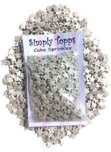 Silver-Glimmer-Stars-25g-Sugar-Cake-amp-Cupcake-Decoration-sugar-Sprinkles