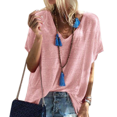 Womens Summer Short Sleeve Loose Blouse Cotton Casual Tops T-Shirt Plus Size USA