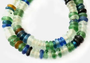 Handmade-Mixed-Ghana-disk-Krobo-Recycled-Glass-African-trade-beads