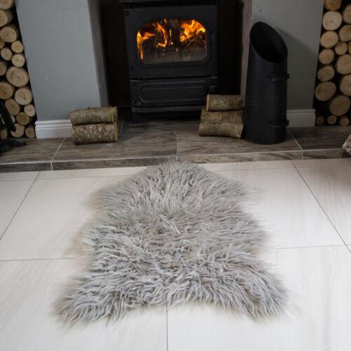 Fausse fourrure peau de mouton tapis non slip chambre à coucher tapis moelleux soft shaggy animal rugs uk