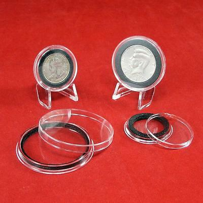 """Air-Tite Brand Y50mm Black Ring Capsule Holders for 2/"""" Silver Lunar Series Qty 5"""