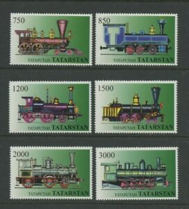 Steam-Locomotives-Trains-Railroad-set-of-6-mnh-Stamps-Tatarstan
