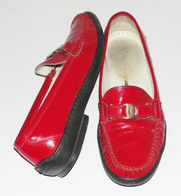 SALVATORE FERRAGAMO~PATENT LEATHER *SIGNATURE BELT* COMFORT LOAFERS SHOES~7B