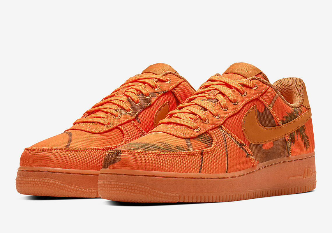 NIKE AIR FORCE 1 LOW REALTREE Real Tree Camouflage Camouflage Camouflage Orange Blaze Gum Blé Taille 9-13  pour pas cher