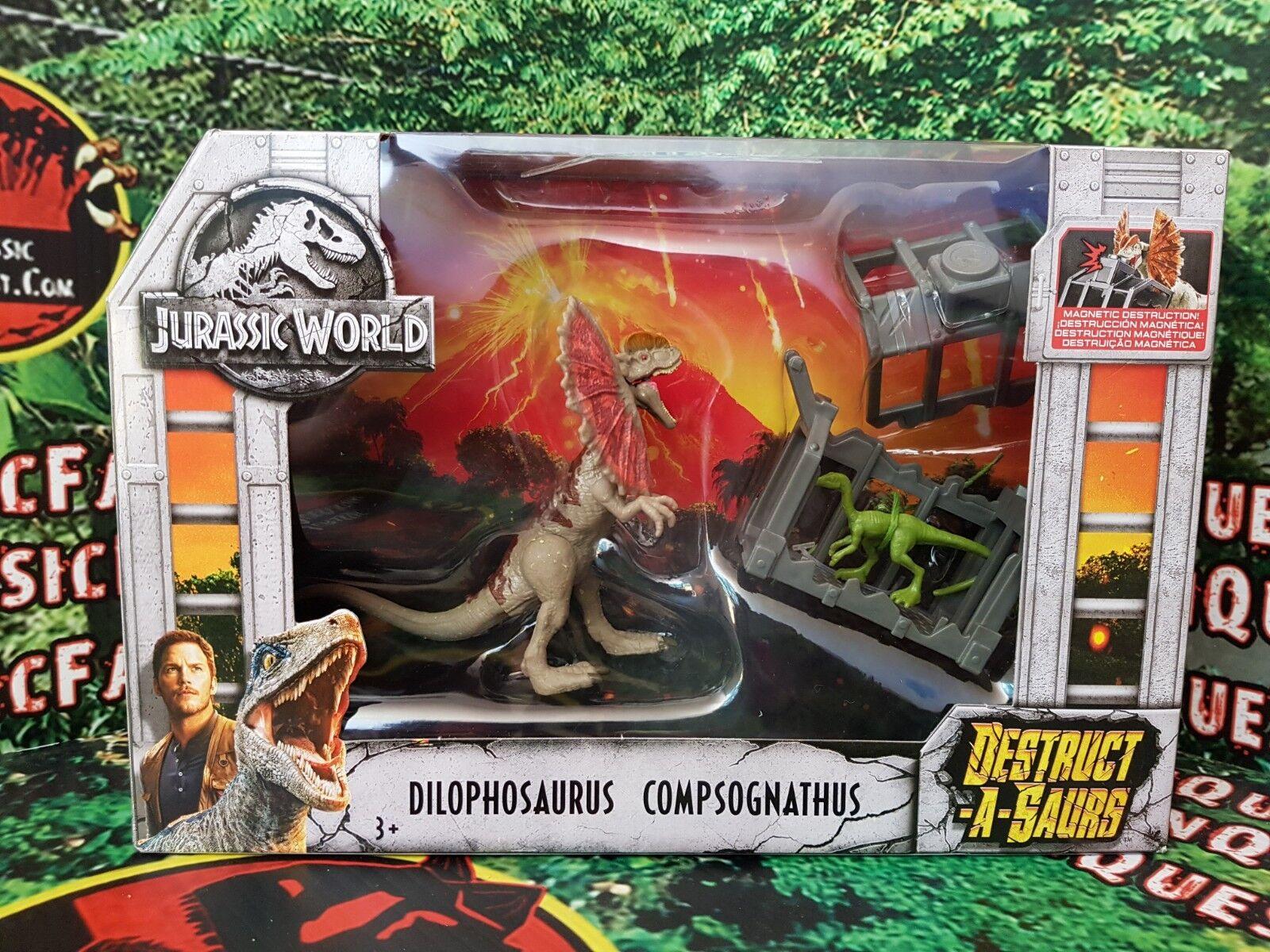 Jurassic World Fallen Kingdom Destruct-a-saurs Dilophosaurus & Compsognathus New
