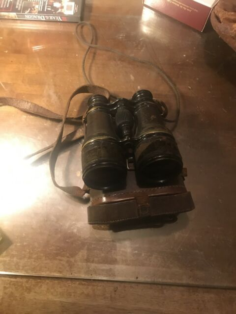 WW1 Era British Canadian Officers Issue Binoculars & Case.  Carrying Pouch.