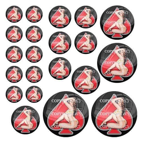104 21 Premium Domed Round 3M Decal Sticker Set GIRL SPADE RED