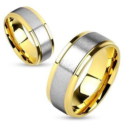 Damen Herren Ring Trauring Partnerring Ehering Zweifarbig Edelstahl