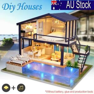 AU! DIY LED Loft Apartments Dollhouse Miniature Wooden Furniture Kit Doll House  6247817676323