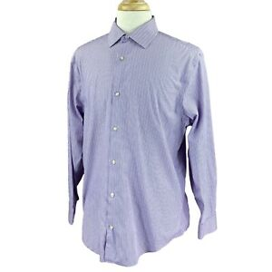 Banana-Republic-Men-039-s-Slim-fit-Non-iron-a-Manches-Longues-Violet-a-Rayures-Chemise-XL