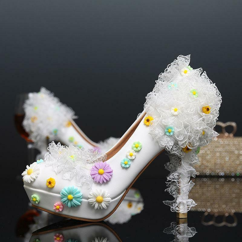 Womens colorful wedding bridal flowers pumps stilettos lace party shoes heels