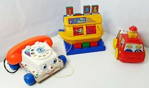 VINTAGE-Fisher-Price-chiacchiere-telefono-Pull-1961-ORIGINALE-747-amp-TOMY-1989-MIX-039-n-Match