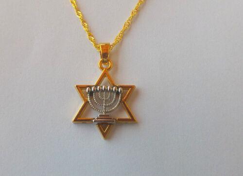 étoile de David  en plaqué or 18 k. Pendentif+chaine